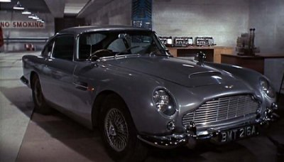Aston Martin DB5 in Q's workshop