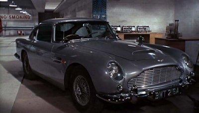 Aston Martin DB5 in Q's workshop