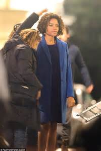 Naomi Harris as Moneypenny filming in Notting Hill